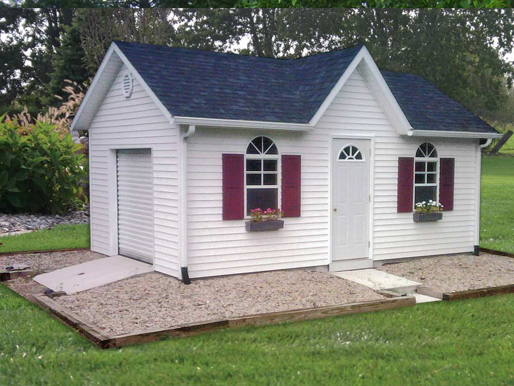 Custom storage barn to match your home built by Martin's Mini Barns