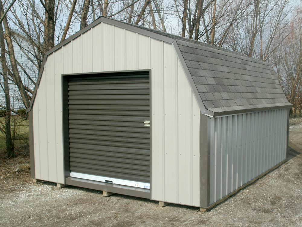 Gambrel Shed with roll-top door Goshen Indiana