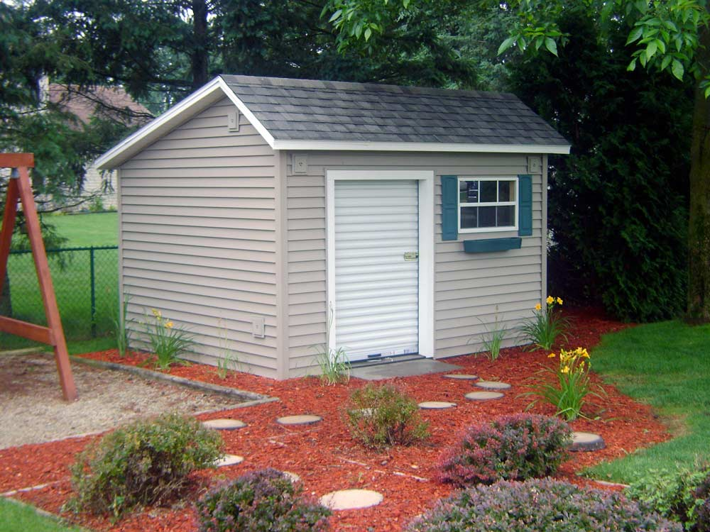 Garden Barn 2 - This simple design for a storage building will house the lawn equipment and backyard toys custom built by Martin's Mini Barns