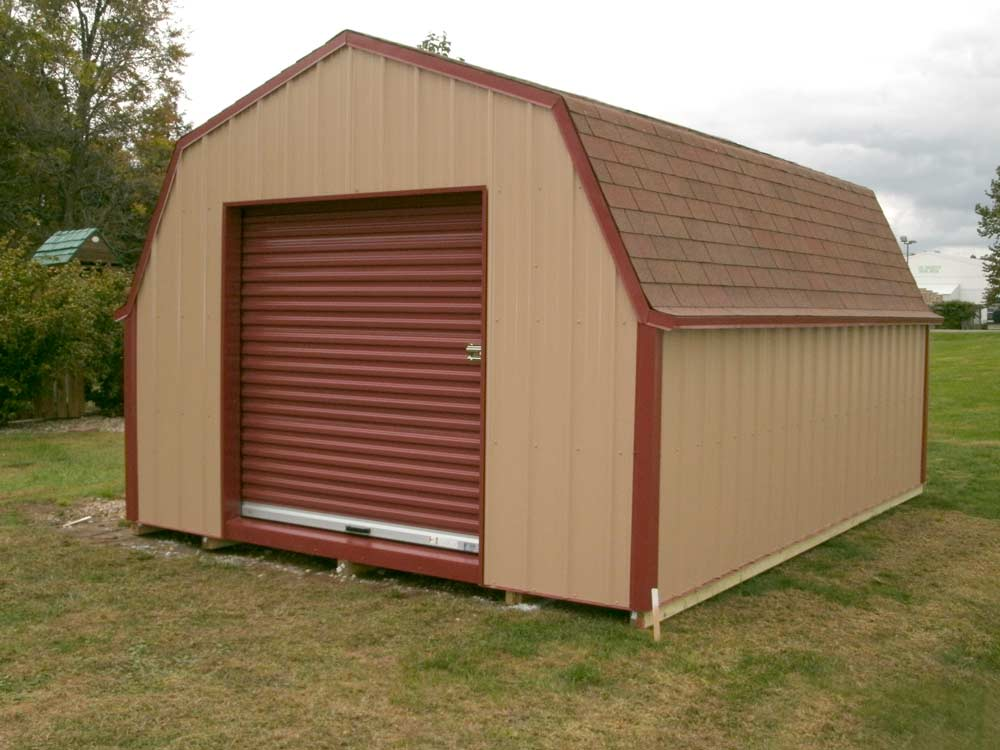 Customized gambrel shed by Martin's Mini Barns