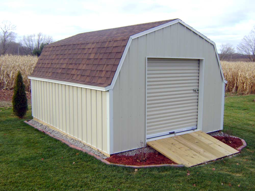 Gambrel Roof Shed with 4' sidewalls by Martin's Mini Barns Goshen, IN