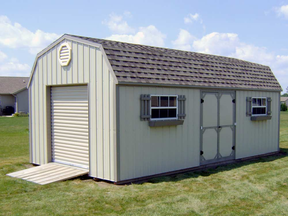 Gambrel roof garden shed delivered and built by Martin's Mini Barns