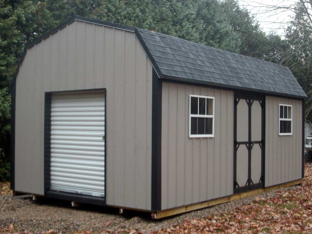 Gambrel Roof Storage Shed. Metal siding mini barn with windows
