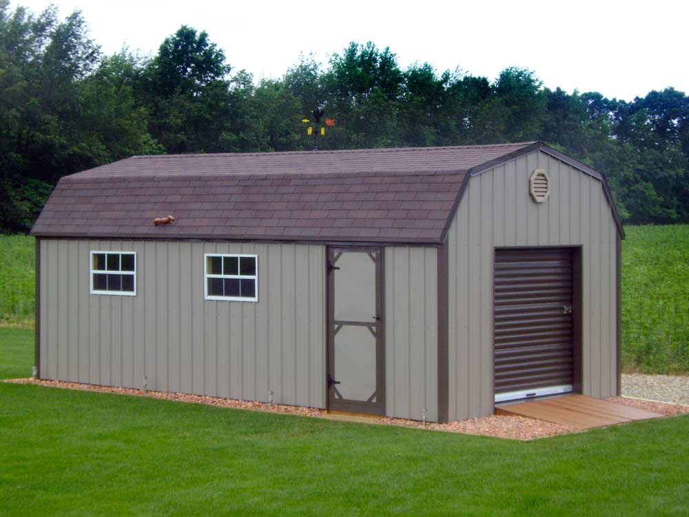Gambrel roof storage shed built to suit the customer by Martin's Mini Barns Goshen, Indiana