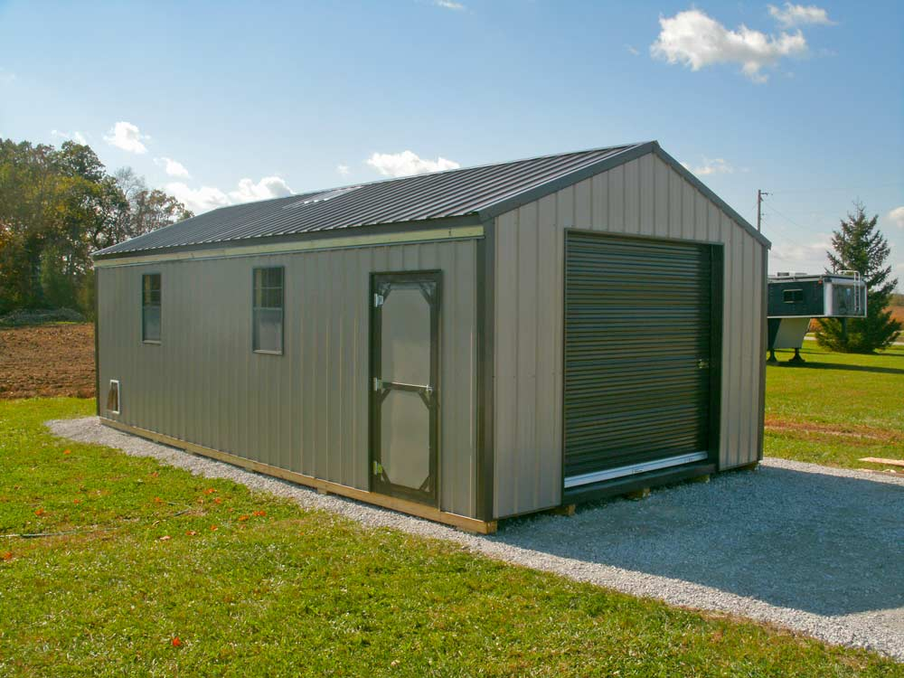 Mini Garage storage barn shed for storing yard tools and toys custom built by Martin's Mini Barns