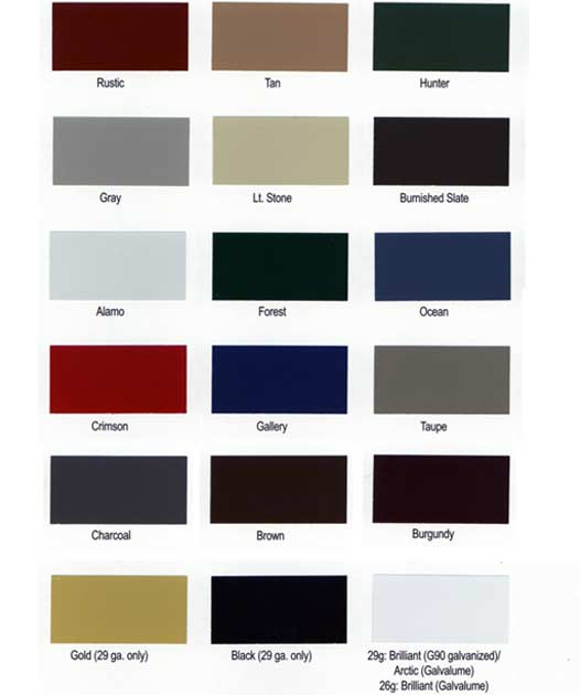 Stocked paint colors for Martin's Mini Barns Wood Siding