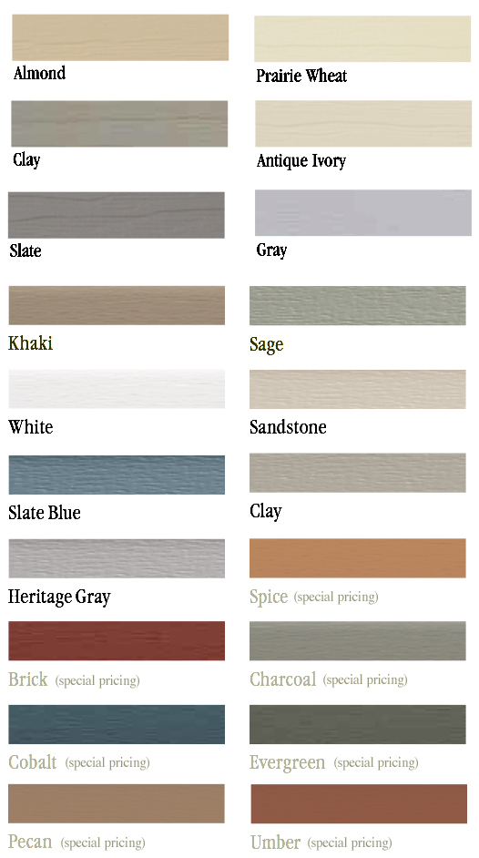 Vinyl Siding Color Choices for Martin's Mini Barns Custom Sheds