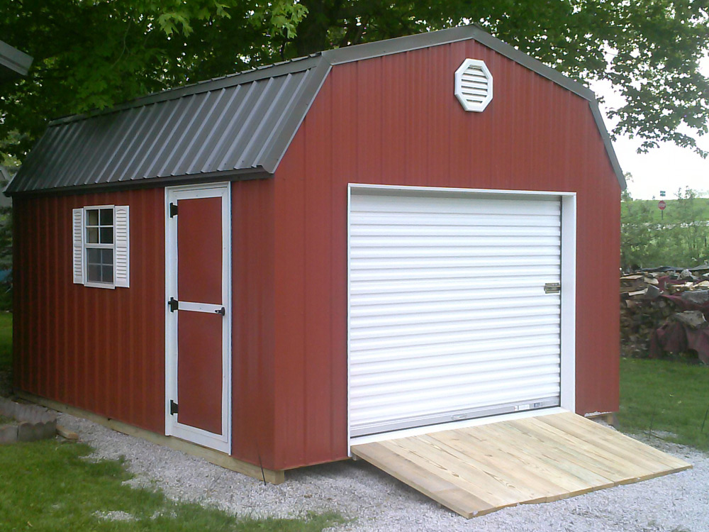 Gambrel storage shed mini barn by Martin's Mini Barns