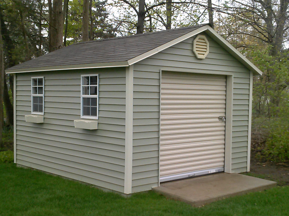 Atlantic style back yard shed with windows vinyl siding and asphalt shingles