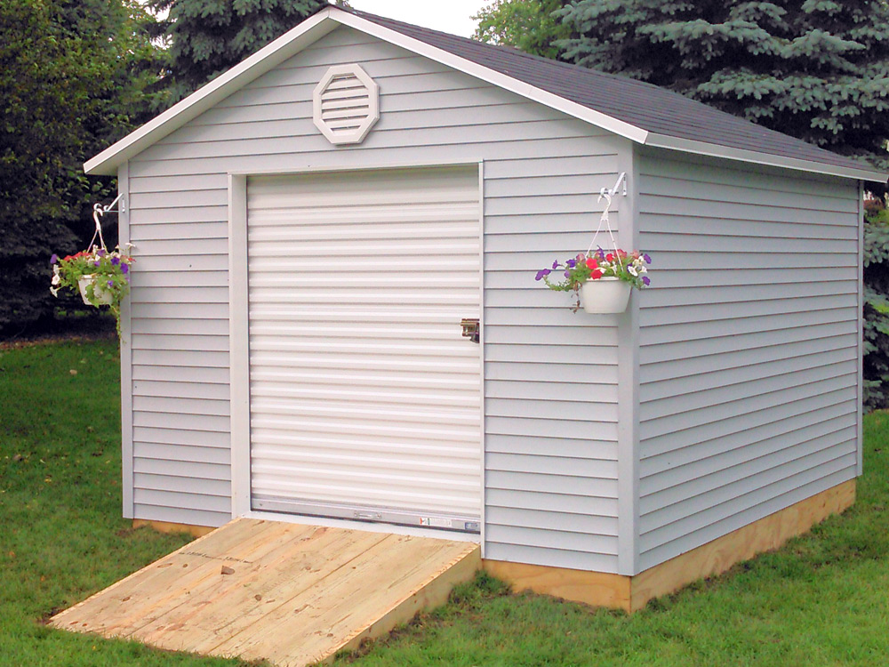Atlantic Shed with garage door for sale Goshen Indiana Martin's Mini Barns